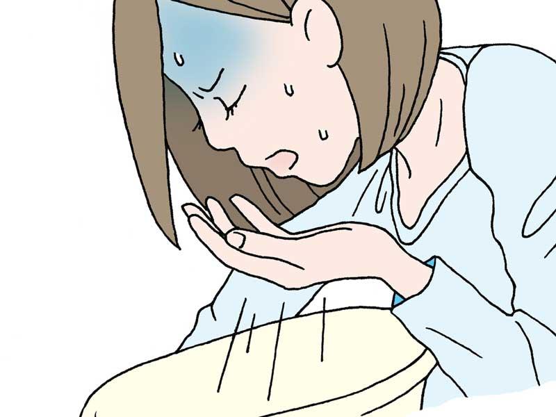 嘔吐症状が出た風邪を引いたままのイラスト
