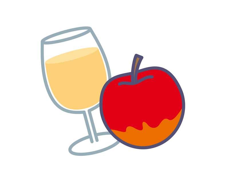りんごとりんごジュースのイラスト