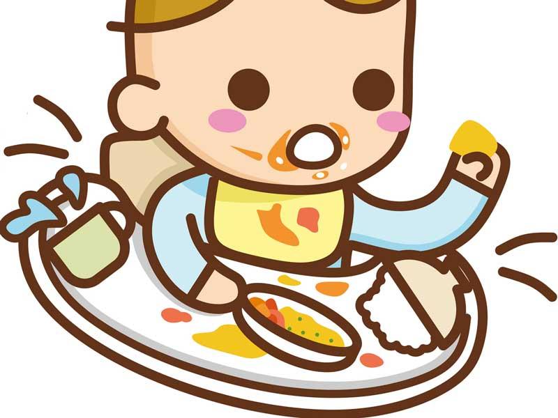 離乳食をひっくり返す赤ちゃんのイラスト