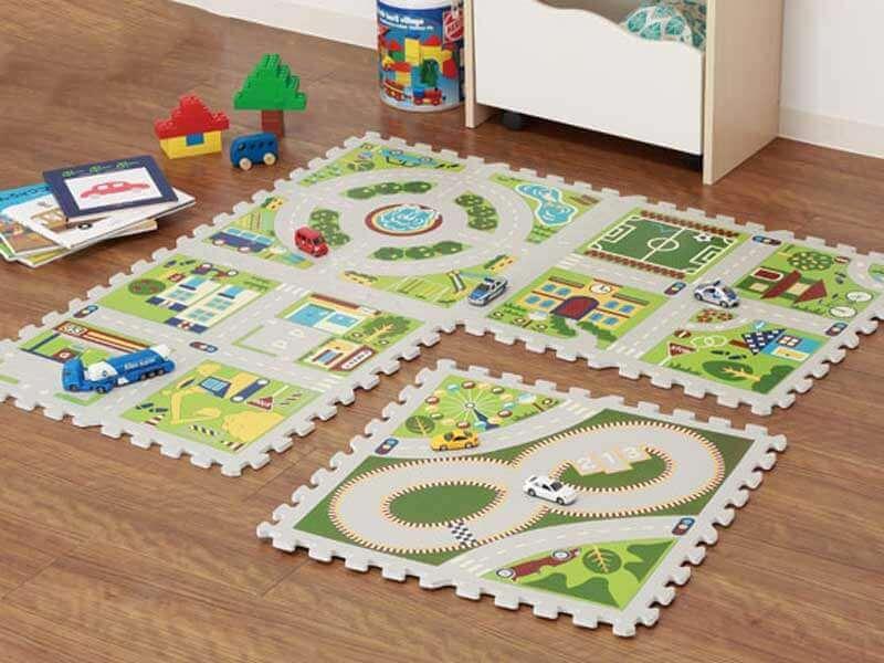 ミニカーで遊べるパズルマット