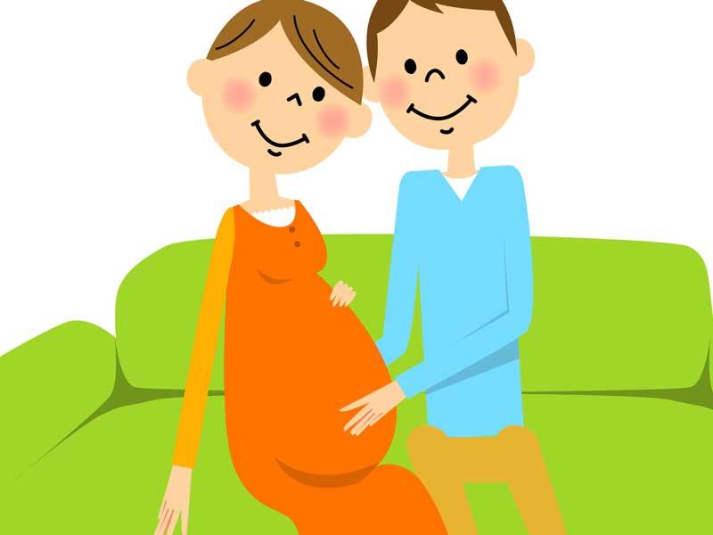 妊婦さんのお腹を触るパパのイラスト