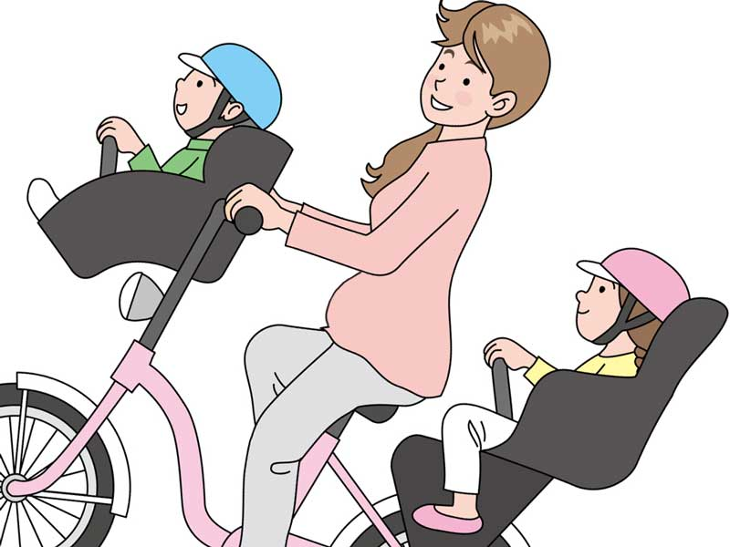 保育園の送迎をしている妊婦さんのイラスト