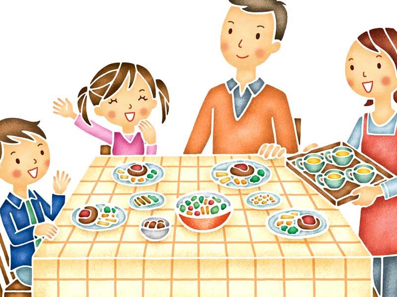 夕食を食べようとしている家族のイラスト