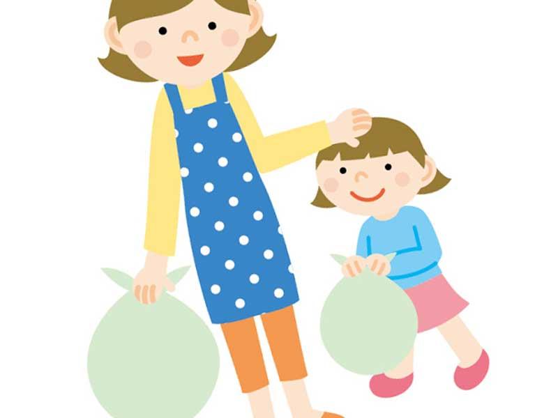 お手伝いする子供とママのイラスト
