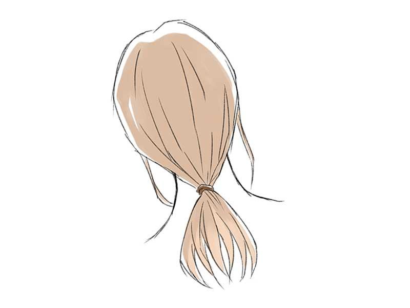 後ろで髪を結ぶイラスト