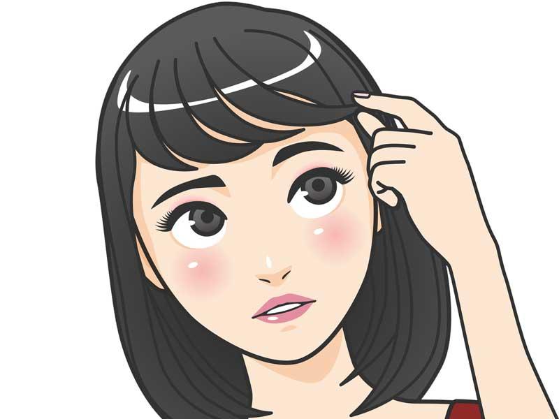 前髪を触る女性のイラスト