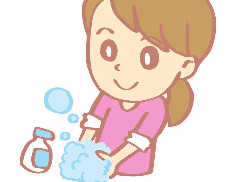 手を洗っている妊婦さんのイラスト