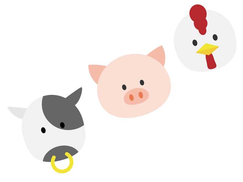 牛、豚と鶏のイラスト