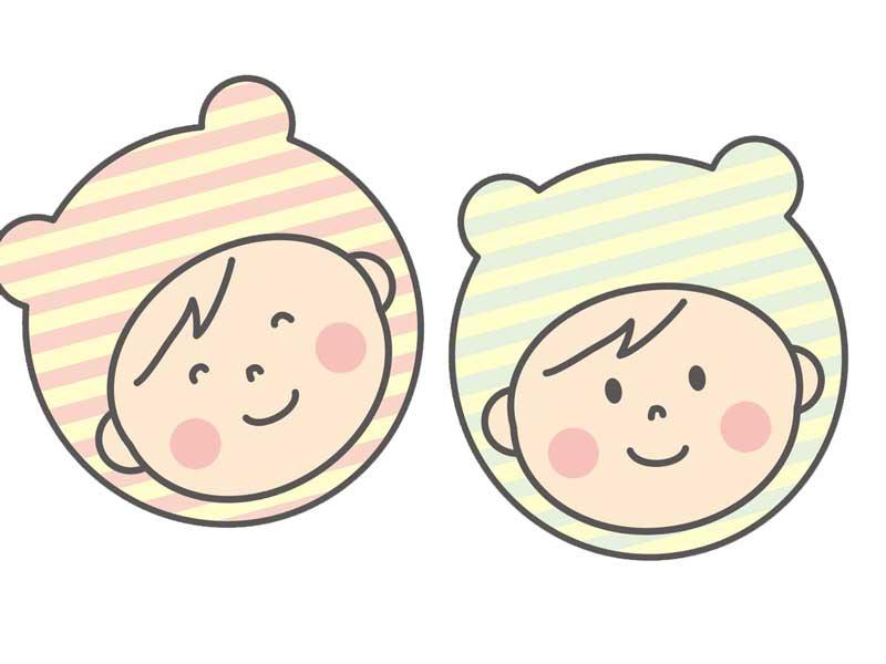 双子赤ちゃんのイラスト