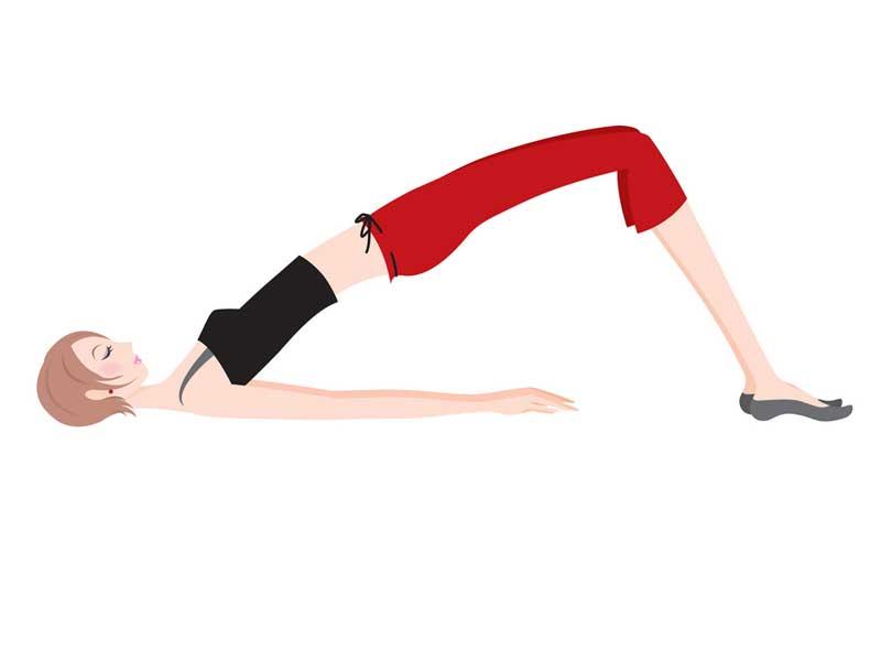 産褥体操をするママのイラスト