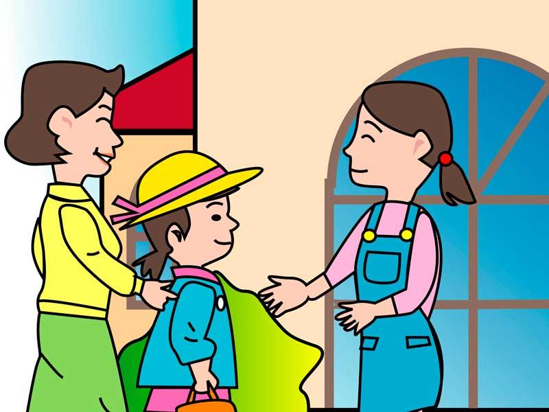 保育園の先生の説明を聞くお母さんのイラスト