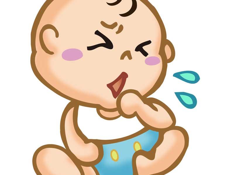 咳をしている赤ちゃんのイラスト