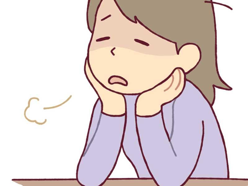 ストレスを抱えた妊婦さんのイラスト