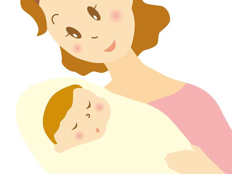 赤ちゃんを抱っこする産後のママのイラスト