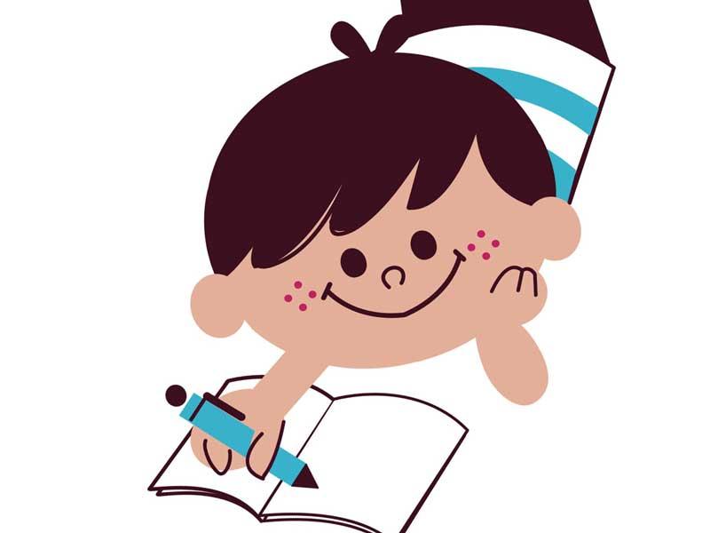 日記を書く子供のイラスト