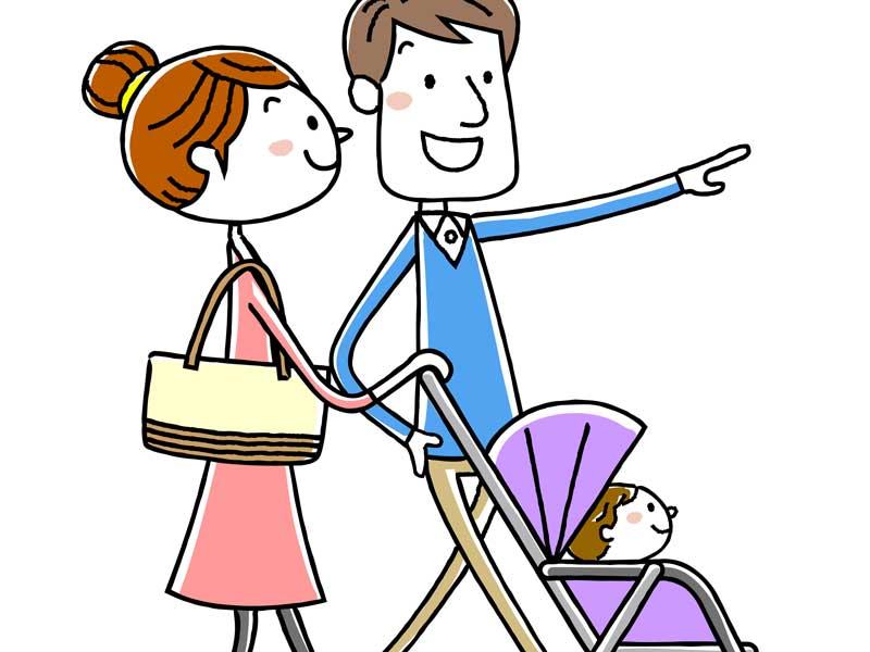 ショッピングに出掛ける赤ちゃん家族のイラスト