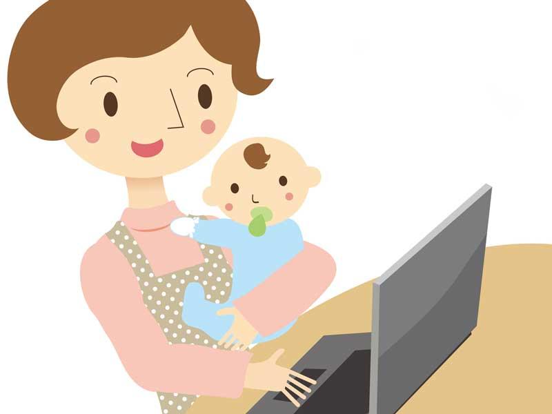 赤ちゃんを抱っこしながらパソコンを見るママのイラスト