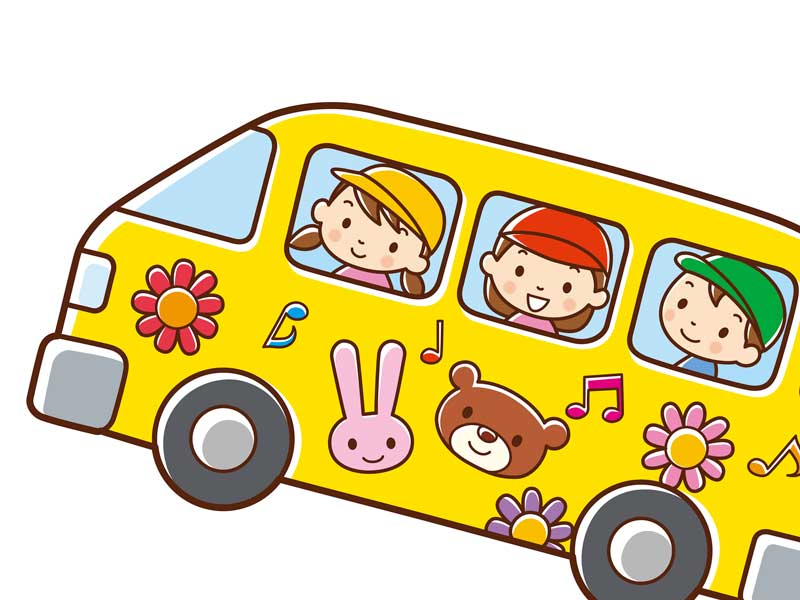 バスで通園する子供達のイラスト