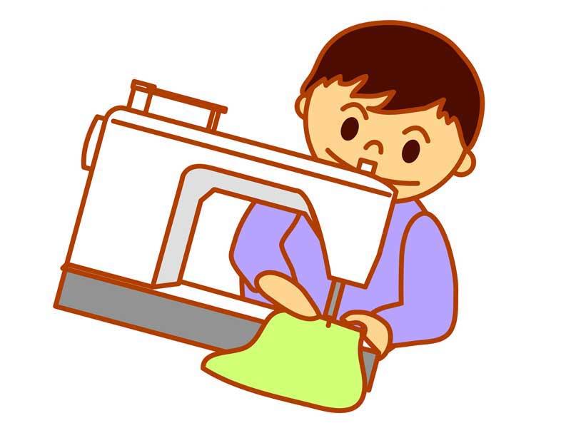 ミシンをしている子供のイラスト