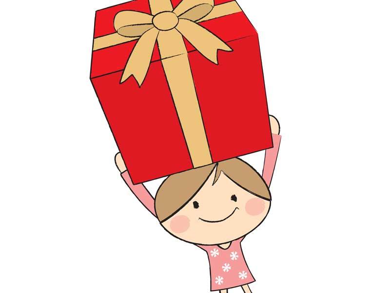 プレゼントをもらって喜んでいる子供のイラスト