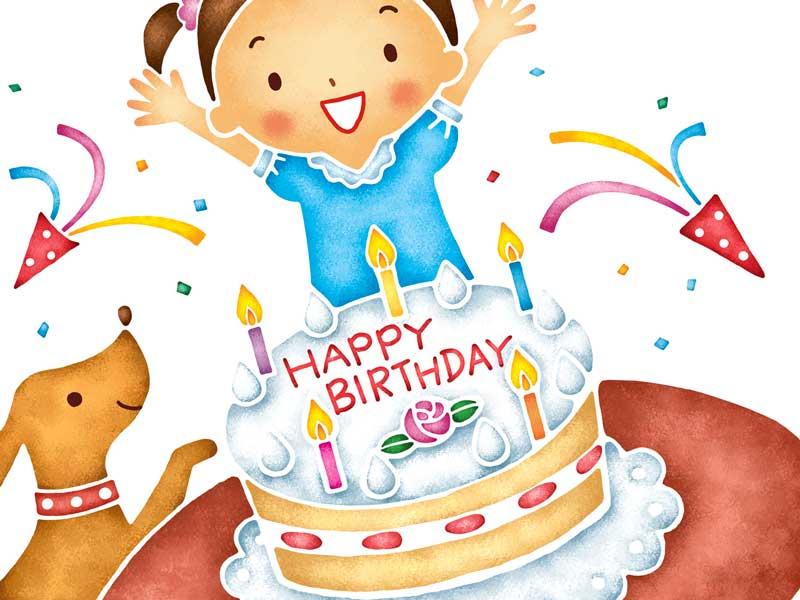 誕生日の子供のイラスト
