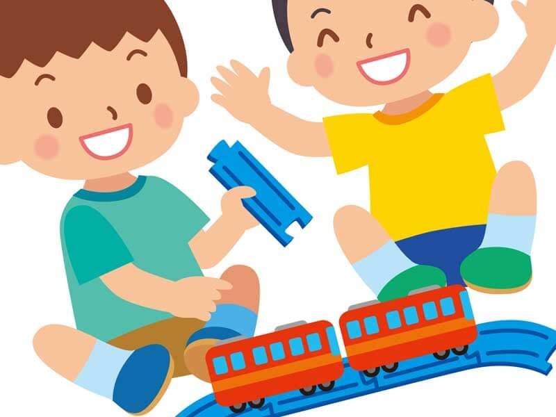 おもちゃで仲良く遊んでいる子供達のイラスト