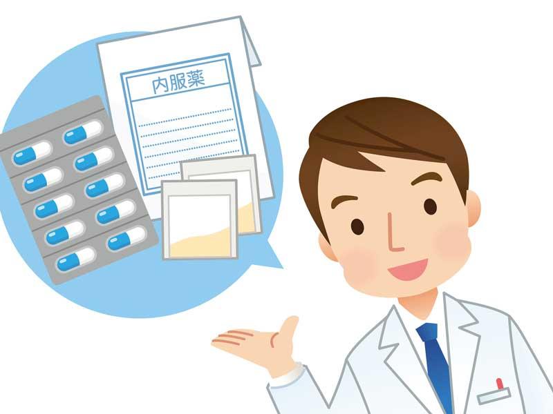 処方薬を出す医者のイラスト