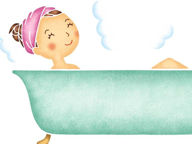 お風呂で体を温める主婦のイラスト