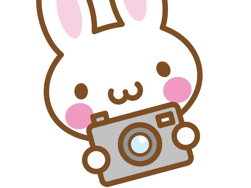 子供用のカメラを持つウサギちゃんのイラスト