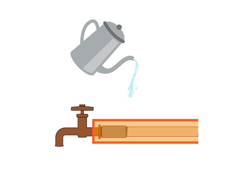 水道管にタオルを巻いてお湯をかけているイラスト
