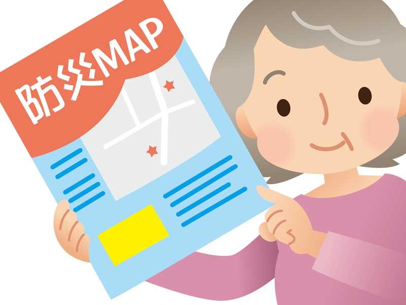 避難所マップを持っている女性のイラスト