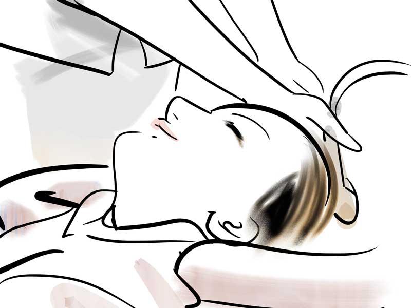 美容院でのシャンプー中の妊婦さんのイラスト