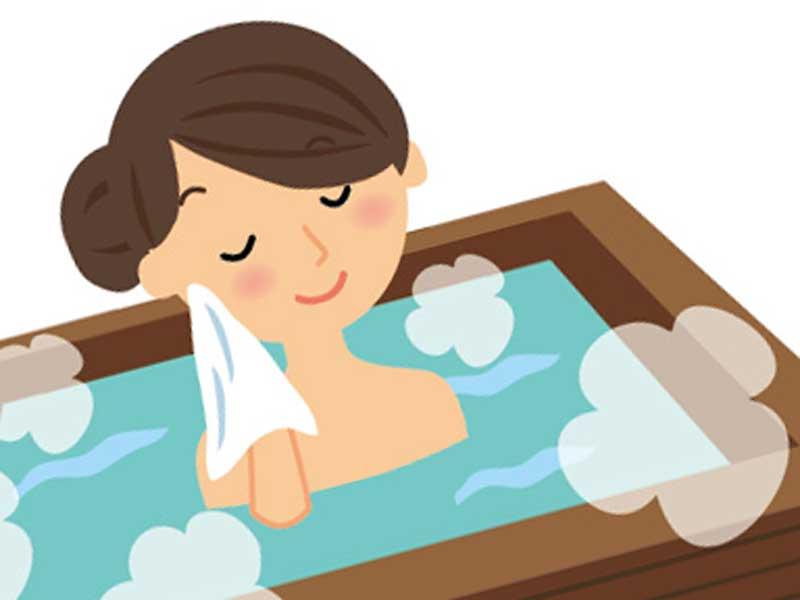 お風呂に入る妊婦さんのイラスト