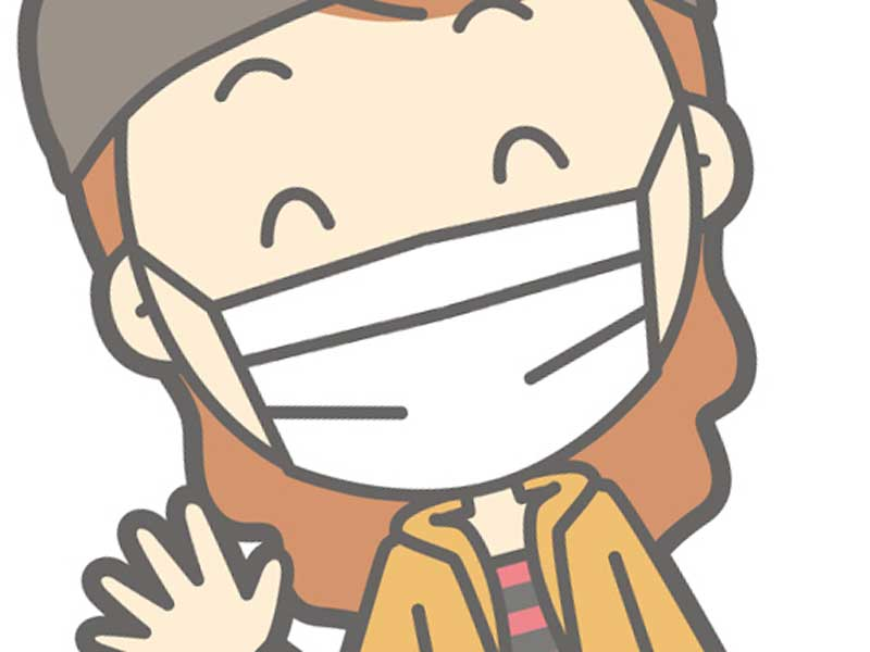 マスクをして出かける妊婦さんのイラスト