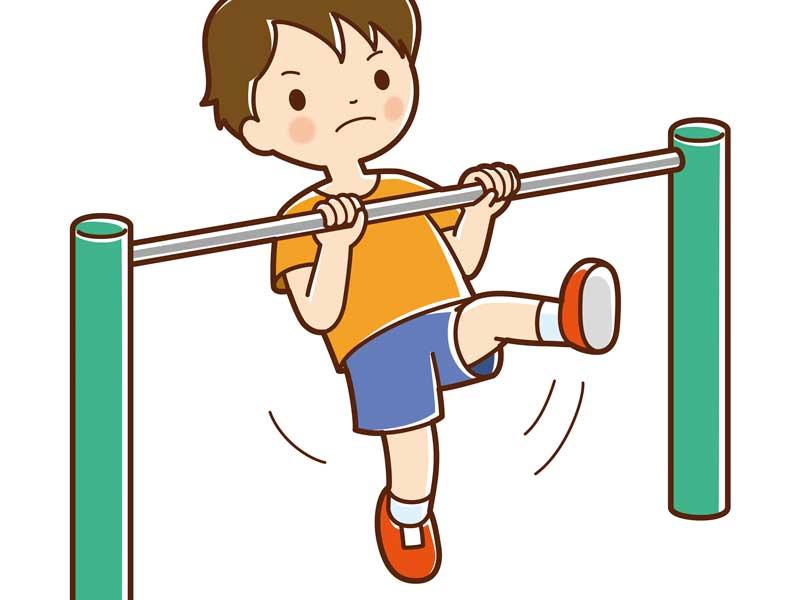 逆上がりをしている子供のイラスト