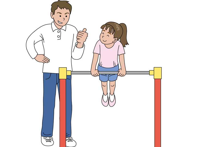 パパと一緒に練習をしている女の子のイラスト