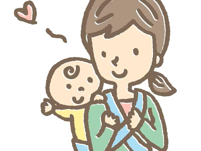 赤ちゃんをおんぶして出かけるママのイラスト