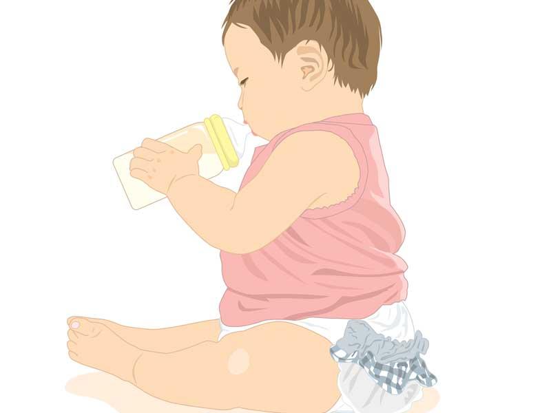 哺乳瓶でミルクを飲んでいる赤ちゃんのイラスト