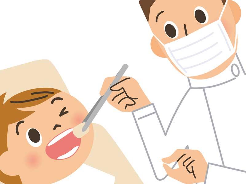 子供に治療をしている歯医者さんのイラスト