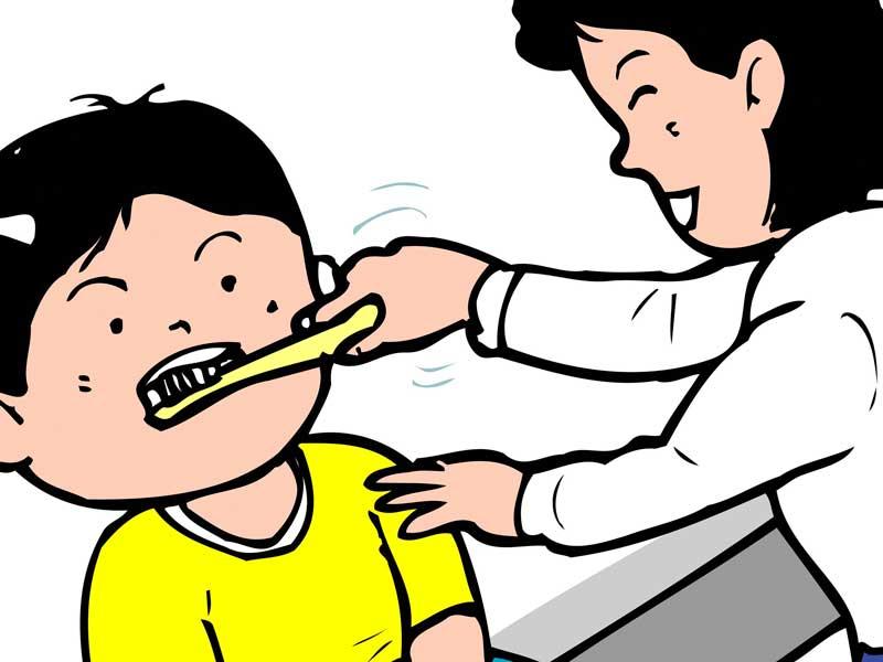 歯磨きが嫌な子供とママのイラスト