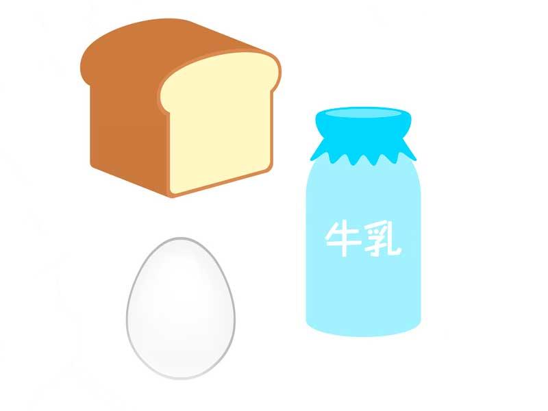 アレルギーを起こしやすい食べ物のイラスト