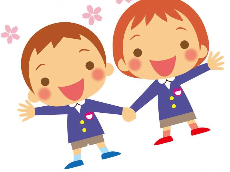 幼稚園に入園する子供達のイラスト