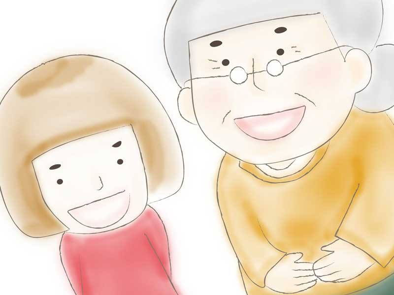 高齢者と子供のイラスト