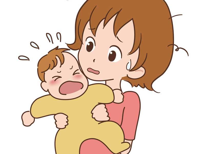泣く赤ちゃんを抱っこしているママのイラスト