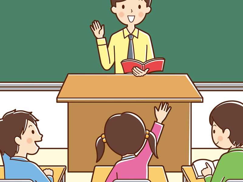 子供達が授業中のイラスト