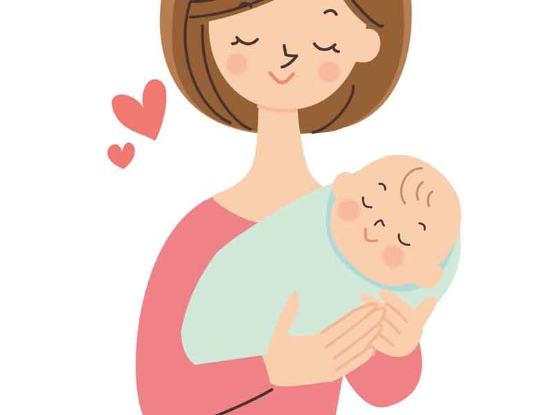 おくるみでくるんでいる赤ちゃんを抱っこするママのイラスト
