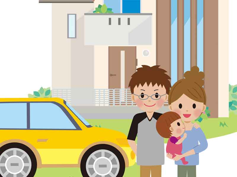 車で帰宅する赤ちゃん家族のイラスト