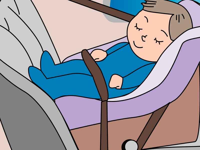 チャイルドシートに乗せた赤ちゃんのイラスト