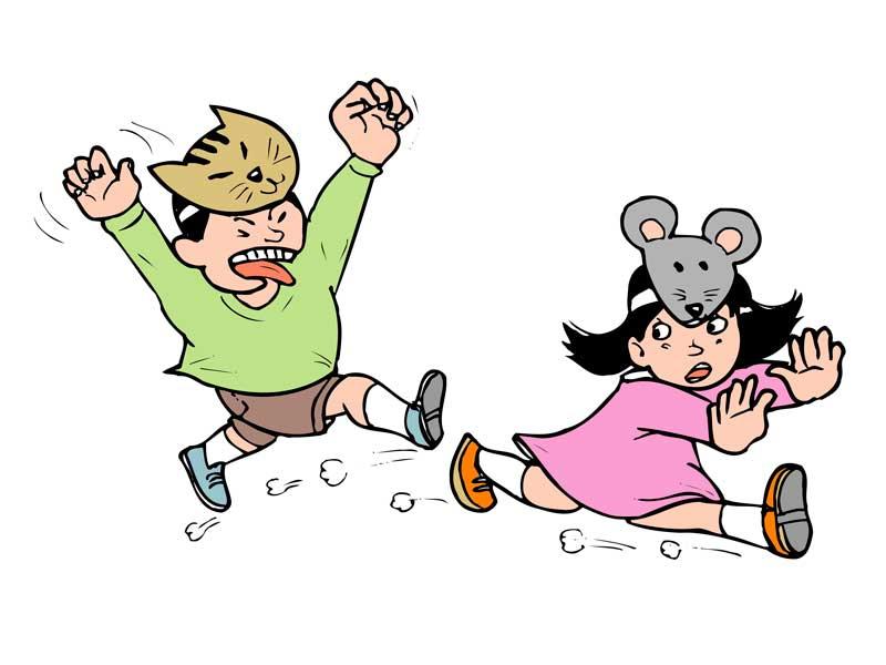 鬼ごっこで遊んでいる子供達のイラスト