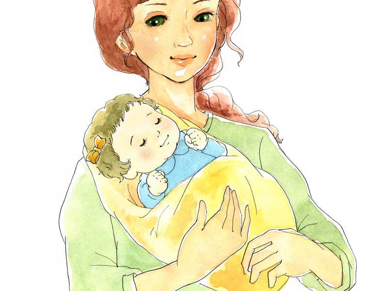 ママの抱っこで寝ている赤ちゃんのイラスト